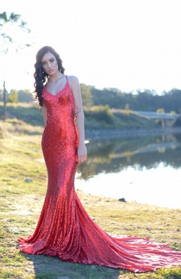 Charming Red Sequins Mermaid Prom Dress UK Long Spaghetti Straps BA8055_3