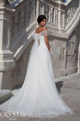 Elegant Off-the-shoulder Tulle Wedding Dress Lace-up With Bowknot_2