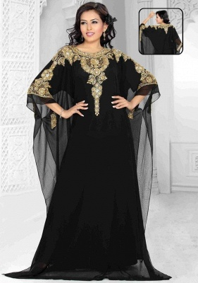 Sexy Black Lace Appliques Arabic Evening Dress UK Beadings Half Sleeve Jewel_1