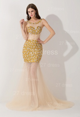 Elegant Crystals Illusion Mermaid Evening Dress UK Sweep Train_1