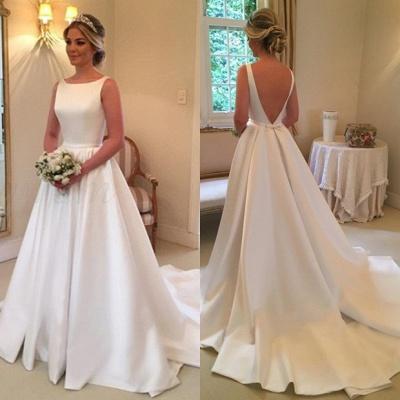 Elegant White Sleeveless Wedding Dress | Simple Bridal Gowns_3