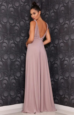 Stunning V-Neck Long Prom Dress UK Chiffon Front Split_3