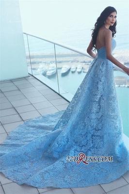 Lace Blue A-line Ruffles Gorgeous Sweetheart Prom Dress UK_2