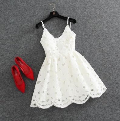 Lace Spaghettis-Strap Cute White Short Mini Homecoming Dress UK_4