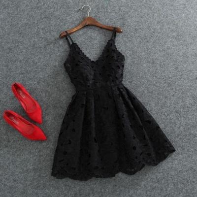Lace Spaghettis-Strap Cute White Short Mini Homecoming Dress UK_1