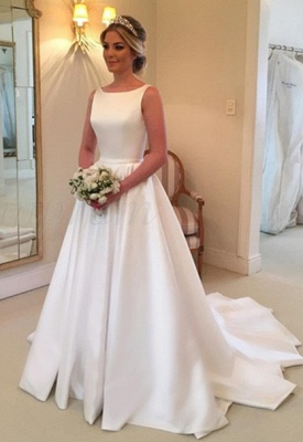 Elegant White Sleeveless Wedding Dress | Simple Bridal Gowns_1