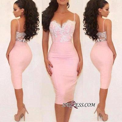 Gorgeous Pink Mermaid Lace Spaghetti-Straps Prom Dress UK_1