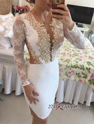 Long-Sleeve Delicate Pearls Mini Lace Bodycon Short Homecoming Dress UK_5