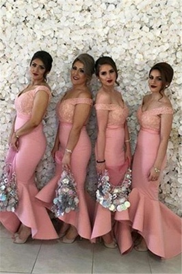 Sexy Off-the-shoulder Mermaid Bridesmaid Dress UK Lace Ruffles_1
