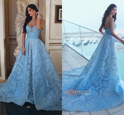Lace Blue A-line Ruffles Gorgeous Sweetheart Prom Dress UK_1