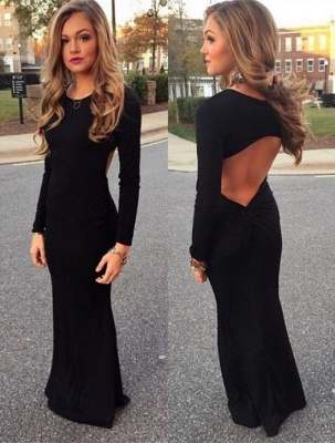 Elegant Black Long Sleeve Prom Dress UK Mermaid Jewel Floor-length BA3862_3