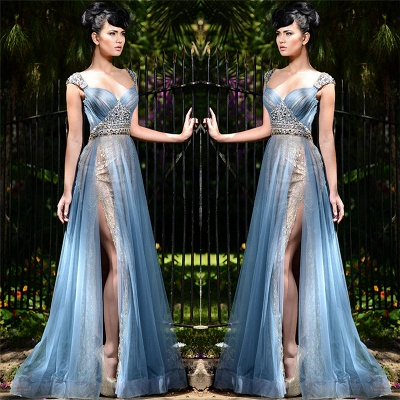 Elegant Blue Straps Long Evening Gown UK | Tulle Crystal Side Slit Sexy Evening Dress_3