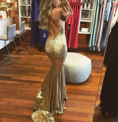 Gold Sequins Prom Dress UK | Mermaid Long Evening Party Dress UK BA8577_4