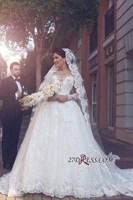 Appliques Tulle Elegant Ball-Gown Long-Sleeves Wedding Dress BA4790_2