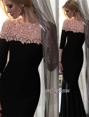 Mermaid Long-Sleeves Sexy Lace-Appliques Long Off-the-Shoulder Evening Gowns BA5180_1