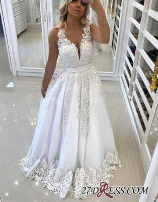 A-line White Bow V-neck Pearls Appliques Evening Dress UK_2