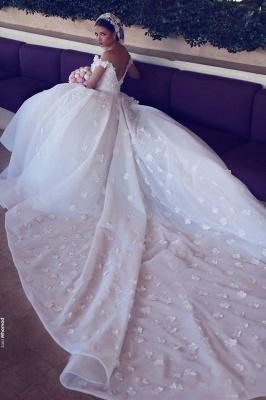 Elegant Off-the-Shoulder Wedding Dresses UK Open Back Appliques Bridal Gowns_4
