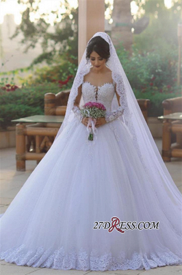 Tulle Ball Popular Long-Sleeves Appliques Elegant Wedding Dress BA6619_1