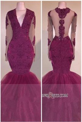 V-Neck Beaded Appliques Burgundy Mermaid Long-Sleeves Tulle Prom Dress UK BA5211_2