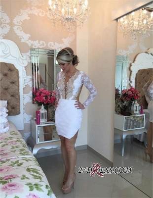Long-Sleeve Delicate Pearls Mini Lace Bodycon Short Homecoming Dress UK_1