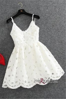 Lace Spaghettis-Strap Cute White Short Mini Homecoming Dress UK_5