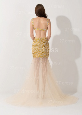 Elegant Crystals Illusion Mermaid Evening Dress UK Sweep Train_3