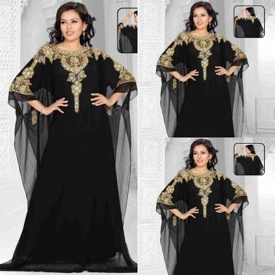 Sexy Black Lace Appliques Arabic Evening Dress UK Beadings Half Sleeve Jewel_3