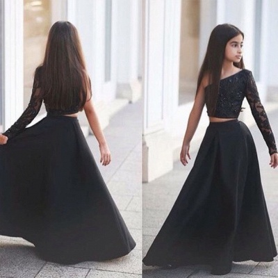 Sexy Black Two Piece Lace Flower Girl Dress Black One Sleeve A-line_4