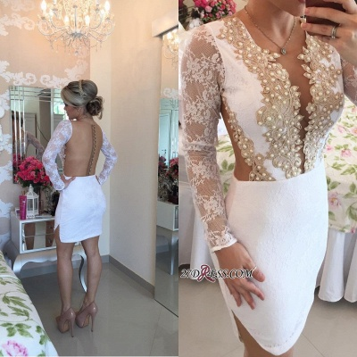 Long-Sleeve Delicate Pearls Mini Lace Bodycon Short Homecoming Dress UK_3