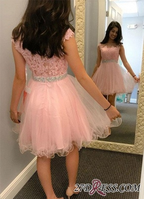 Beading Lace Cute Round-neck Knee-length A-line Cocktail Dress UK_2