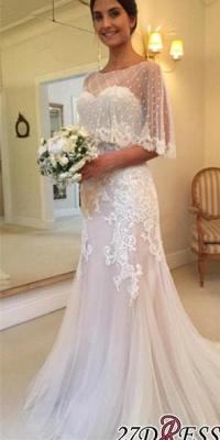 Applique Tulle Sexy Mermaid Sweep-Train Sweetheart Wedding Dresses UK_2