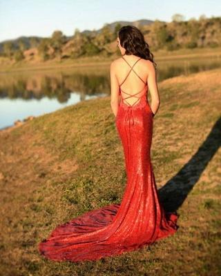 Charming Red Sequins Mermaid Prom Dress UK Long Spaghetti Straps BA8055_4