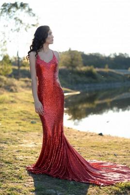 Charming Red Sequins Mermaid Prom Dress UK Long Spaghetti Straps BA8055_1