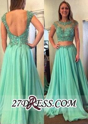 Beading Jewel A-line Long Luxury Two-Piece Cap-Sleeve Prom Dress UK_2