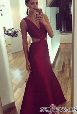 Sleeveless Elegant Sexy Deep-v-neck Floor-length Sheath-Column Prom Dress UK_2
