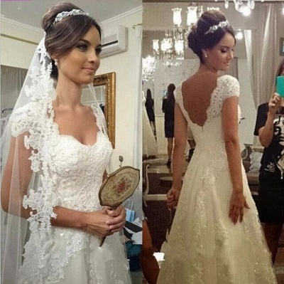 Elegant Sweetheart Cap Sleeve Wedding Dress With Lace Appliques_1
