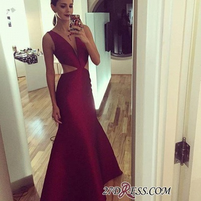 Sleeveless Elegant Sexy Deep-v-neck Floor-length Sheath-Column Prom Dress UK_1