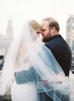 White Sexy Mermaid Off-the-shoulder Zipper Lace Long-Sleeve Elegant Wedding Dress_1