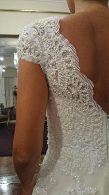 Elegant Sweetheart Cap Sleeve Wedding Dress With Lace Appliques_3