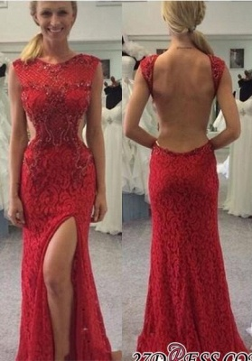 Backless Long Red Lace Elegant Mermaid Split Prom Dress UKes UK BA6803_2