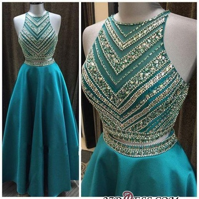 A-Line Two-Pieces Halter Luxury Crystal Sleeveless Prom Dress UK_2