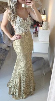 Modern Lace Appliques Mermaid Prom Dress UK Straps Sweep Train Bowknot_1