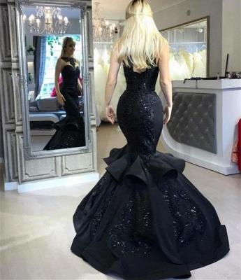 Elegant Black Mermaid Prom Dress UK Long Sequins Ruffles Party Gowns BA7654_5