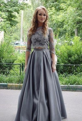 Sexy Scoop Gray Two-Pieces Lace Long Floor-length Half-sleeves Prom Dress UK_2