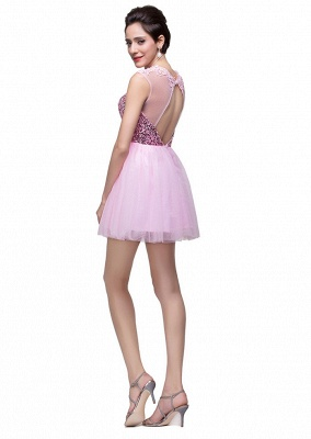 Cute Pink Sequins Sleeveless Homecoming Dress UK Tulle Short_4