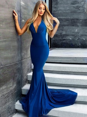 Sexy Royal-Blue Prom Dress UK | Backless Mermaid Evening Gowns_1