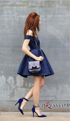 Dark-Navy Off-the-shoulder Modest A-line Short Homecoming Dress UK_2