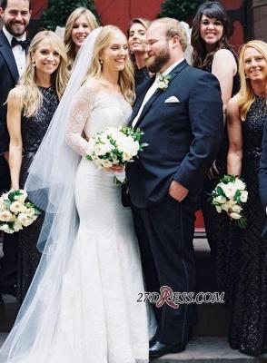 White Sexy Mermaid Off-the-shoulder Zipper Lace Long-Sleeve Elegant Wedding Dress_3