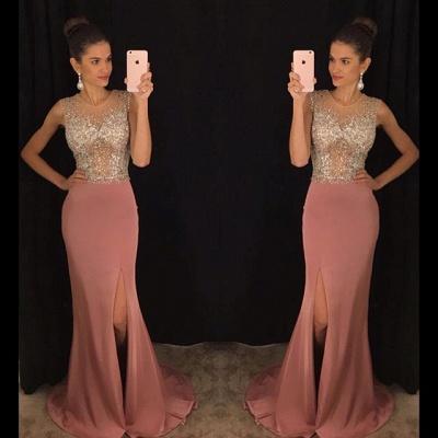 Stunning Sleeveless Crystal Prom Dress UKes UK Slit Floor Length AP0_3
