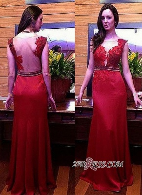 Long Crystal Gorgeous Red Lace Sleeveless Evening Dress UK_1